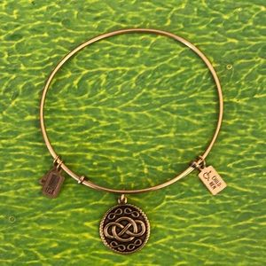 Wind & Fire Infinity Charm Gold Bangle #222